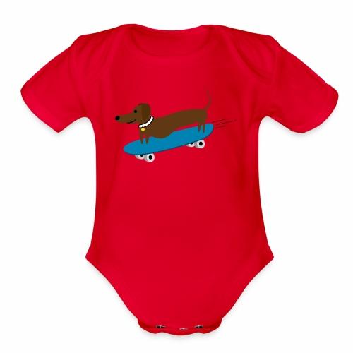 Dachshund Skateboarding - Organic Short Sleeve Baby Bodysuit