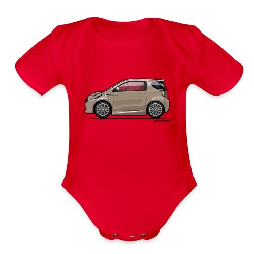 AM Cygnet Blonde Metallic Micro Car - Organic Short Sleeve Baby Bodysuit