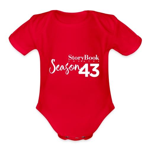 SBT43 Season43 LOGO WHT - Organic Short Sleeve Baby Bodysuit