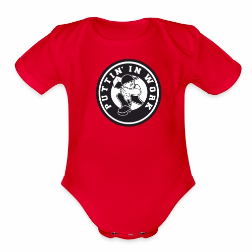 Solid Puttin' In Work Logo - Organic Short Sleeve Baby Bodysuit