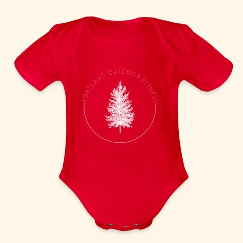 Circle Logo White - Organic Short Sleeve Baby Bodysuit
