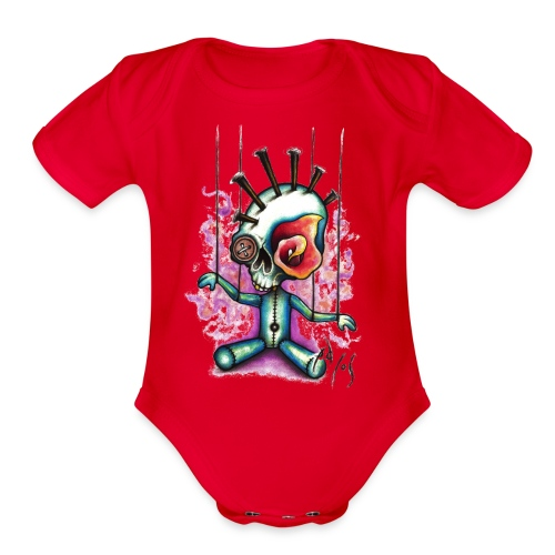 Punkpuppet Skull - Organic Short Sleeve Baby Bodysuit