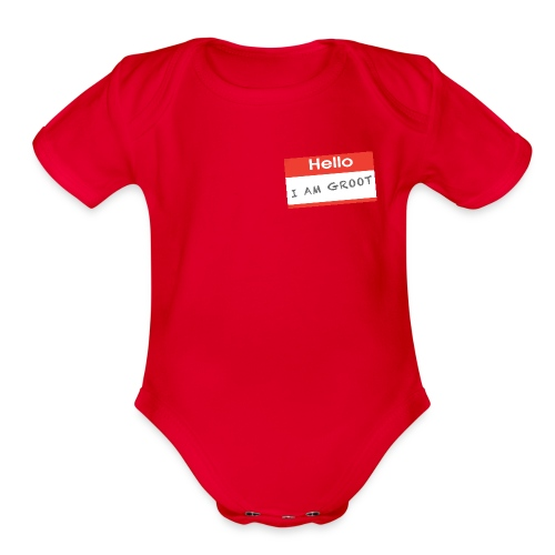 Hello I Am Groot Name Tag - Organic Short Sleeve Baby Bodysuit