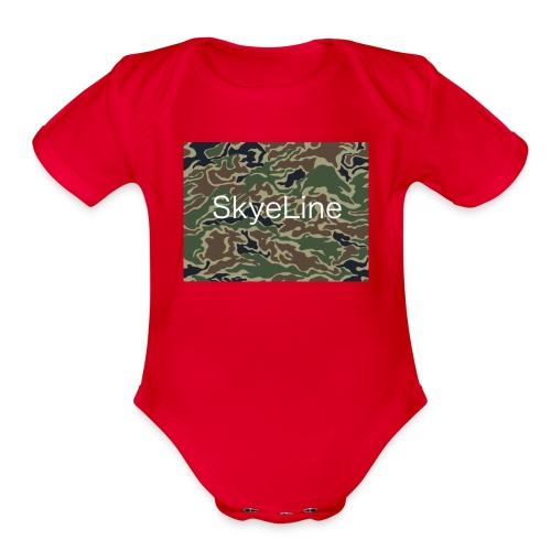 SkyeLine Green Camo and White Box Logo - Organic Short Sleeve Baby Bodysuit