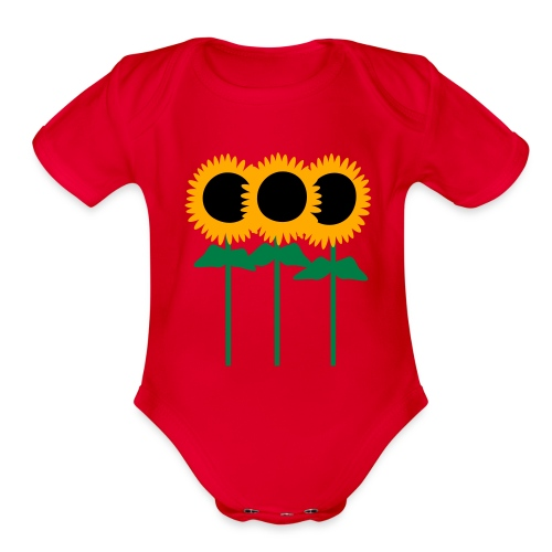Three Cute Sunflowers With Stem And Leaves - Organic Short Sleeve Baby Bodysuit