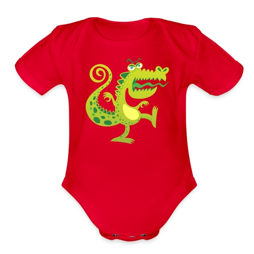 Scary reptile like monster growling in angry mood - Organic Short Sleeve Baby Bodysuit