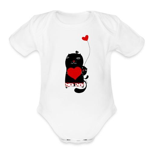 Cats w Hearts Kristina S - Organic Short Sleeve Baby Bodysuit