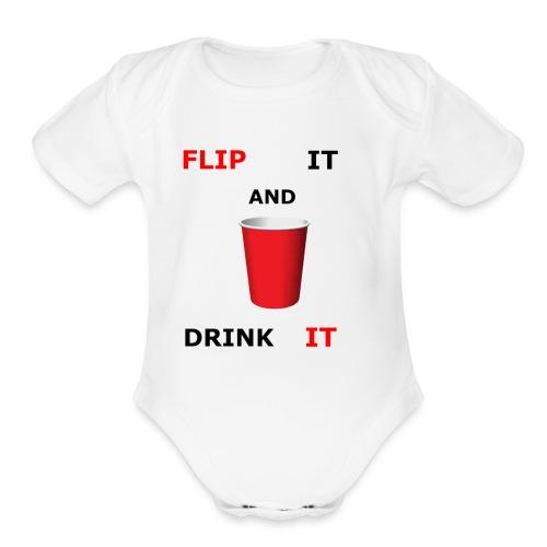 Flip It And Drink It - Organic Short Sleeve Baby Bodysuit