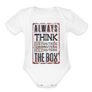 Always think outside the box - Short Sleeve Baby Bodysuit