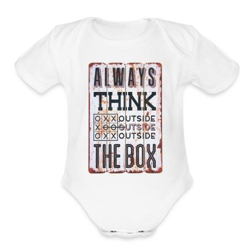 Always think outside the box - Organic Short Sleeve Baby Bodysuit