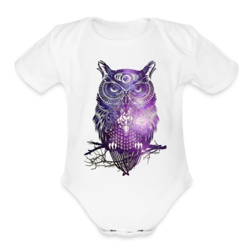 All Seeing Owl - Organic Short Sleeve Baby Bodysuit