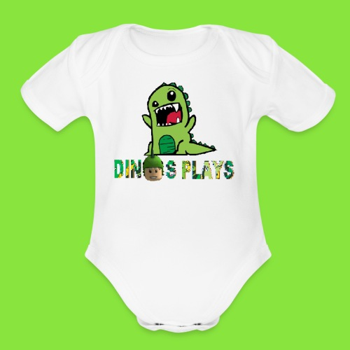 dinos plays - Organic Short Sleeve Baby Bodysuit