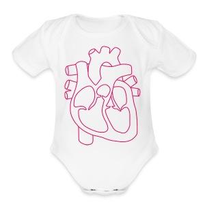heart - Short Sleeve Baby Bodysuit