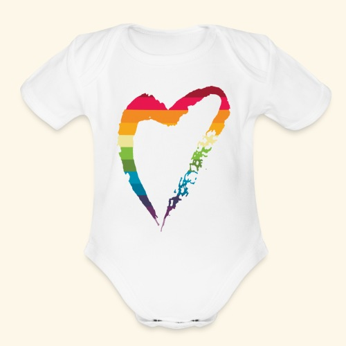 gay heart - Organic Short Sleeve Baby Bodysuit