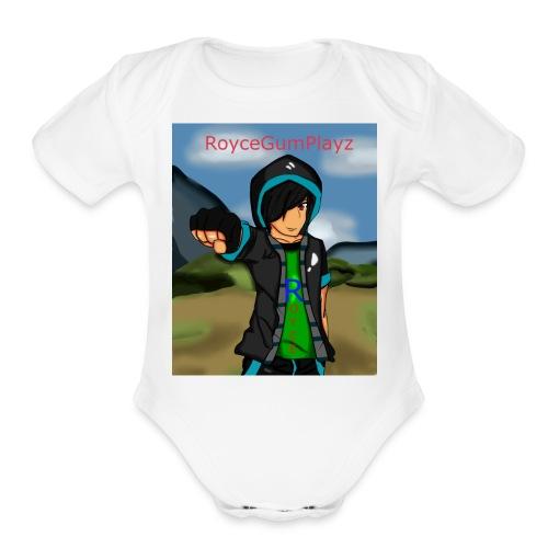 RoyceGumPlayz Official Logo! - Organic Short Sleeve Baby Bodysuit