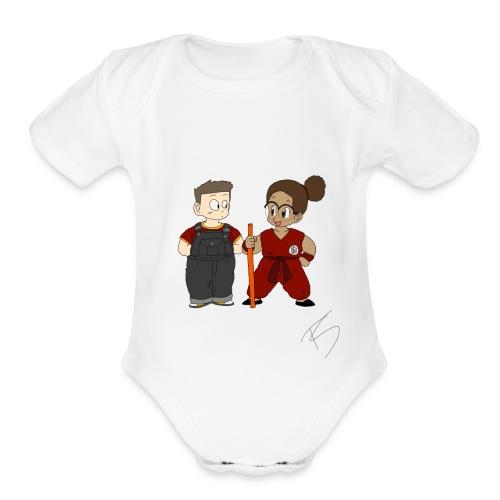 Goku style couple - Organic Short Sleeve Baby Bodysuit