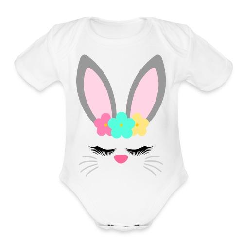 bunny unicorn - Organic Short Sleeve Baby Bodysuit
