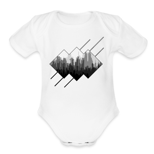 BLACK AND WHITE CITY - Organic Short Sleeve Baby Bodysuit