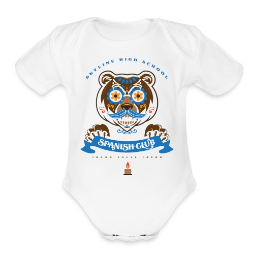 Grizz Day of the Dead - Organic Short Sleeve Baby Bodysuit