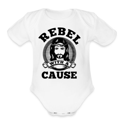 Rebel with a cause BLACK CLEAN SKIN print - Organic Short Sleeve Baby Bodysuit