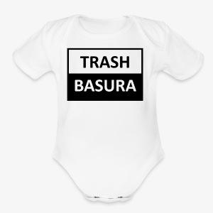 TRASH BASURA - Short Sleeve Baby Bodysuit