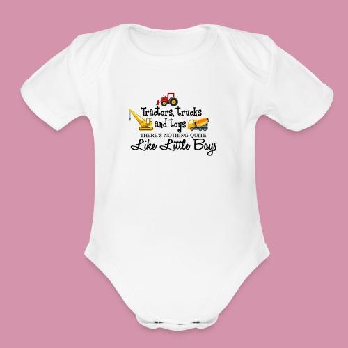 trucks and boys - Organic Short Sleeve Baby Bodysuit