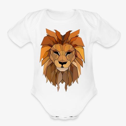 lion vintage - Organic Short Sleeve Baby Bodysuit