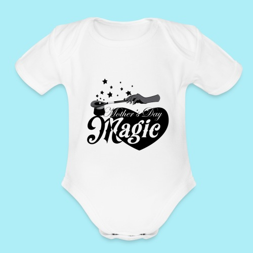 African American Mother's Day Magic (Black Star) - Organic Short Sleeve Baby Bodysuit