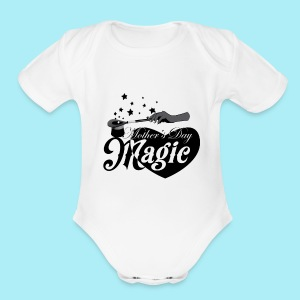 African American Mother's Day Magic (Black Star) - Short Sleeve Baby Bodysuit
