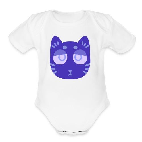 sad cat - Organic Short Sleeve Baby Bodysuit