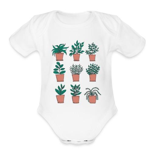 Flowerpots - Organic Short Sleeve Baby Bodysuit