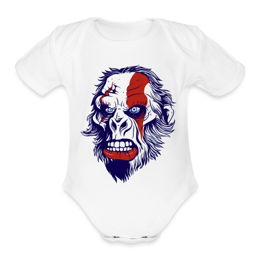 funny t shirt design with gorilla - Organic Short Sleeve Baby Bodysuit
