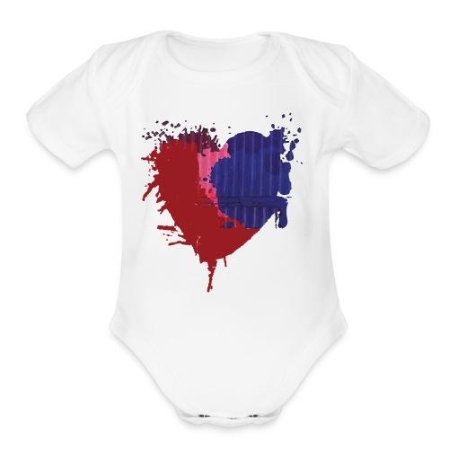 Painted Heart - Organic Short Sleeve Baby Bodysuit