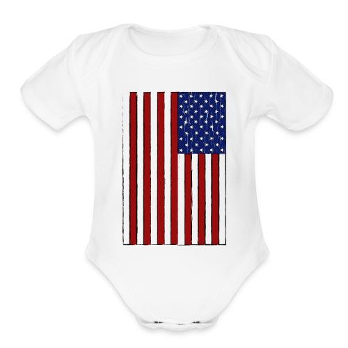 USA Flag (Distressed) - Organic Short Sleeve Baby Bodysuit