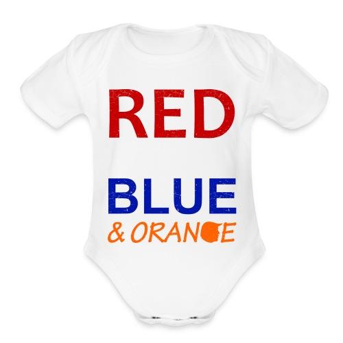 Red White Blue and Orange - Organic Short Sleeve Baby Bodysuit