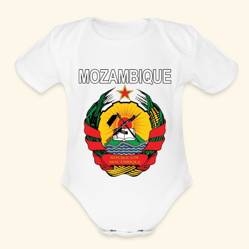 Mozambique coat of arms national design - Organic Short Sleeve Baby Bodysuit