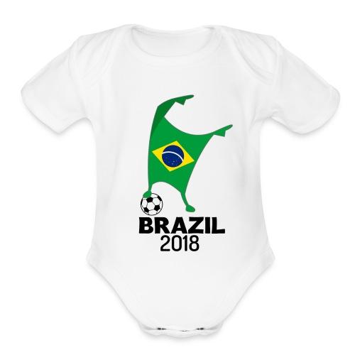 Brazil Flag 2018 Football Cup Soccer Dabbing World Jersey - Organic Short Sleeve Baby Bodysuit