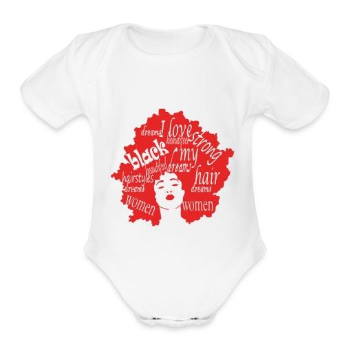 natural hair love afro womens Gift for black girls - Organic Short Sleeve Baby Bodysuit