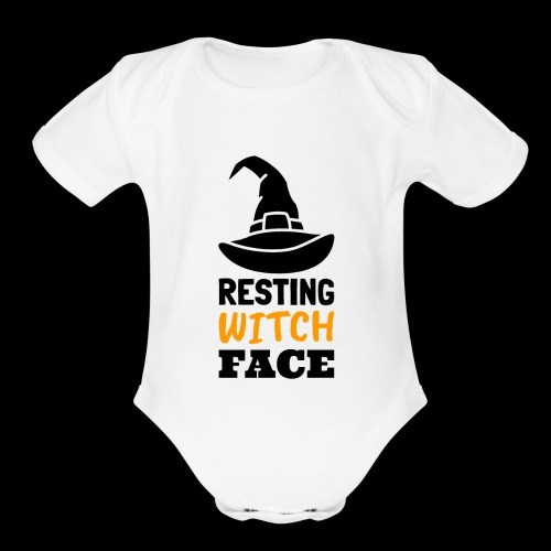 Resting Witch Face | Funny Halloween - Organic Short Sleeve Baby Bodysuit