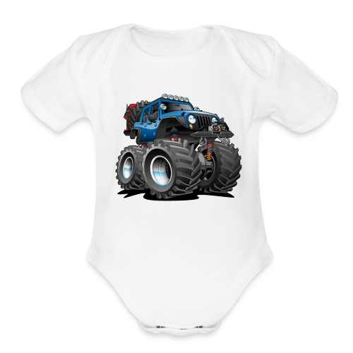 Off road 4x4 blue jeeper cartoon - Organic Short Sleeve Baby Bodysuit