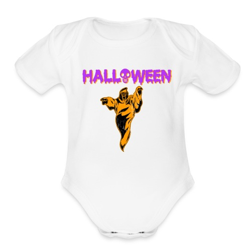 Halloween Cute Ghost Holiday T shirt - Organic Short Sleeve Baby Bodysuit