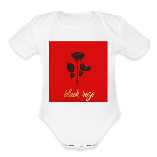 Black rose - Organic Short Sleeve Baby Bodysuit
