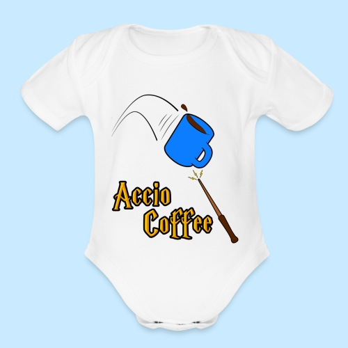 Accio Coffee! (Double Sided) - Organic Short Sleeve Baby Bodysuit