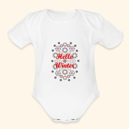 Hello Winter - Organic Short Sleeve Baby Bodysuit