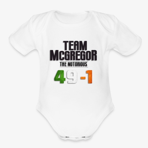 McGregor vs Mayweather: Team McGregor 49-1 - Organic Short Sleeve Baby Bodysuit