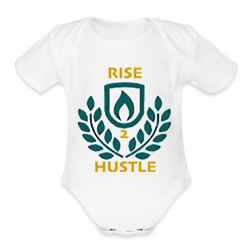 HUSTLE2RISE PLUS LOGO - Organic Short Sleeve Baby Bodysuit