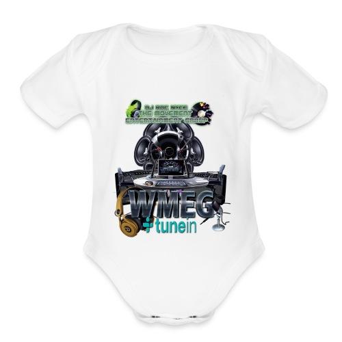 WMEG internet Radio logo - Organic Short Sleeve Baby Bodysuit