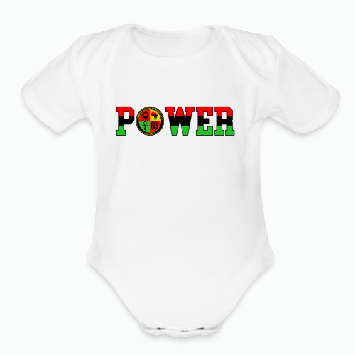 Afrikan Power with Logo and Black trim - Organic Short Sleeve Baby Bodysuit
