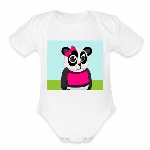 Panda Lilly - Organic Short Sleeve Baby Bodysuit