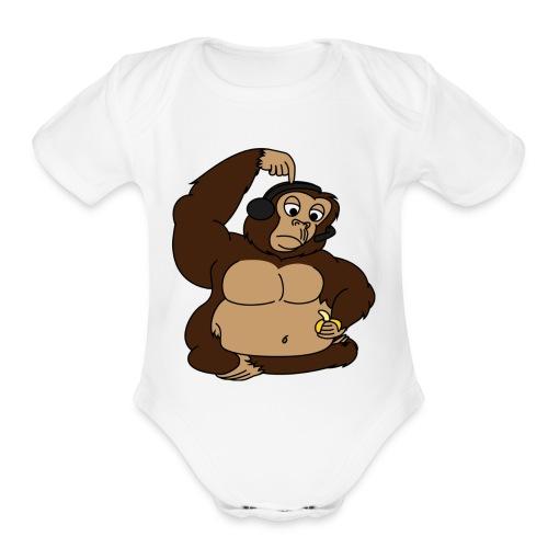 fat monkey v2 by playfulpossum d5r83ik - Organic Short Sleeve Baby Bodysuit